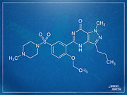 Molecule Prints - Viagra Molecular Structure Blueprint Print by Nikki Marie Smith