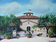 Italian Wine Paintings - Viansa Piazza Sonoma by Debbie Waitkus