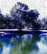 Pond Greeting Cards Digital Art - Vibrant Blue by Michelle Frizzell-Thompson