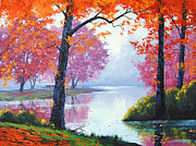 Autumn Landscape Painting Framed Prints - Vibrant Colours Framed Print by Graham Gercken