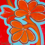 Tropical Art Paintings - Vibrant Flappers by Cindy Davis