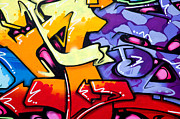 Red Background Prints - Vibrant graffiti Print by Richard Thomas