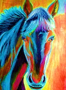Horses Posters Painting Posters - Vibrant Horse Poster by Rossana Kelton