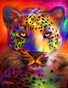 Pet Portraits Digital Art Prints - Vibrant Leopard Painting Print by Svetlana Novikova