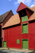 Bergen Posters - Vibrant Red And Green Building Poster by Sally Weigand