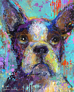 Dog Print Mixed Media Prints - Vibrant Whimsical Boston Terrier Puppy dog painting Print by Svetlana Novikova