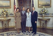 Vice Presidents Framed Prints - Vice President And Joan Mondale Pose Framed Print by Everett