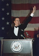 George Herbert Walker Framed Prints - Vice President Bush Addresses The Young Framed Print by Everett