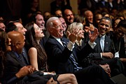 Singers Photos - Vice President Joe Biden Flanked by Everett