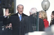 Jill Biden Posters - Vice President Joe Biden Takes The Oath Poster by Everett
