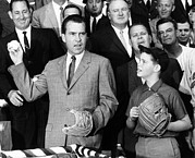 Baseball Glove Prints - Vice President Nixon Officially Opens Print by Everett