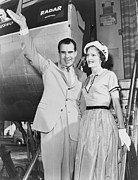 Vice Presidents Framed Prints - Vice President Richard Nixon, With Wife Framed Print by Everett