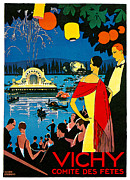 Fireworks Paintings - Vichy comite des fetes by Roger Broders
