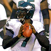 Michael Vick Framed Prints - Vick Framed Print by Gerry Mann