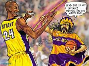 Los Angeles Lakers Mixed Media Framed Prints - Vick-the-Brick passes The Bamboo Framed Print by Brian Child