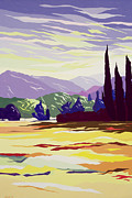 Hills Paintings - Vicopelago - Lucca by Derek Crow