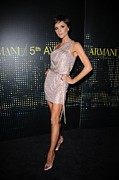 Satin Dress Prints - Victoria Beckham Wearing Armani Dress Print by Everett