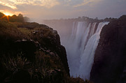 Zambia Waterfall Framed Prints - Victoria Falls Sunset - Zimbabwe Framed Print by Craig Lovell