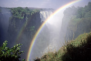 Zimbabwe Photos - Victoria Falls With Rainbow In Foreground, Zimbabwe by Robin Smith