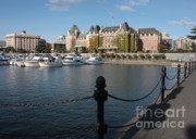 Docked Boats Photo Prints - Victoria Harbour with Railing Print by Carol Groenen