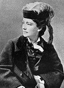 Feathered Hat Framed Prints - Victoria Woodhull 1838-1927, Early Framed Print by Everett
