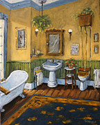Original  By Artist Paintings - Victorian Bathroom by Prankearts by Richard T Pranke