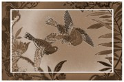 Victorian Digital Art - Victorian Birds in Sepia by Carol Groenen
