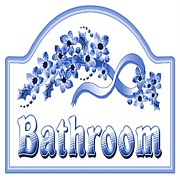 Old Bathroom Print Prints - Victorian Blue Bath Sign Print by Florene Welebny