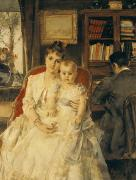 Chair Painting Metal Prints - Victorian Family Scene Metal Print by Alfred Emile Stevens