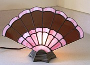 Lamp Glass Art - Victorian Fan Lamp by Shelly Reid
