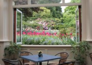 Table And Chairs Framed Prints - Victorian Garden View Framed Print by Carol Groenen