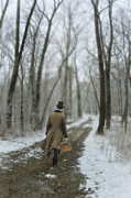 Victorian Gentleman Walking Through Woods Print by Jill Battaglia