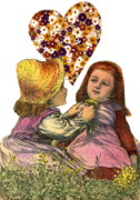 Little Girls Mixed Media Posters - Victorian Girls Buttercup Game Poster by Marcia Masino