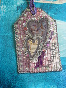 Tag Tapestries - Textiles Metal Prints - Victorian Hearts Pink Metal Print by Ruth Hobart