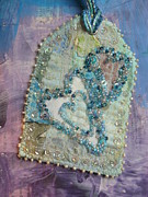 Tag Tapestries - Textiles Metal Prints - Victorian Hearts Turquoise Metal Print by Ruth Hobart