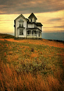 Dreary Posters - Victorian House on a Hill Poster by Jill Battaglia