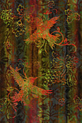 Fabric Paintings - Victorian Humming Bird 3 by JQ Licensing