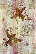 Quilt Prints - Victorian Humming Bird Pink Print by JQ Licensing