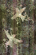 Carpet Painting Posters - Victorian Hummingbird Green Poster by JQ Licensing