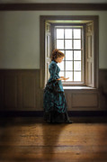 Love Letter Posters - Victorian Lady Holding Letters by Window Poster by Jill Battaglia