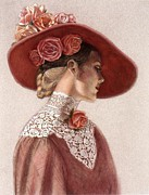Red Roses Prints - Victorian Lady in a Rose Hat Print by Sue Halstenberg