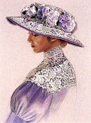 Hat Pastels Framed Prints - Victorian Lady in Lavender Lace Framed Print by Sue Halstenberg