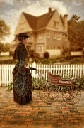 Picket Fence Prints - Victorian Lady with Baby Buggy Print by Jill Battaglia