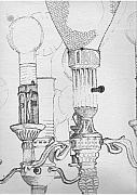 Industrial Drawings Framed Prints - Victorian lamp drawing Framed Print by Ron Hayes