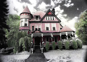 Black And White Hand Print Posters - Victorian Mansion- Hand Colored Infrared Photo Poster by Kathy Fornal