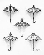 Pen Drawings Drawings Framed Prints - Victorian Parasols Framed Print by Adam Zebediah Joseph