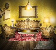 Wooden Metal Prints - Victorian Room Metal Print by Setsiri Silapasuwanchai