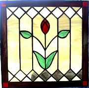 Panel Glass Art Originals - Victorian Rose by Liz Shepard