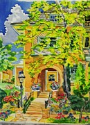 Mansion Digital Art Originals - Victorian Sandstone Mansion Denver Colorado by Annie Gibbons