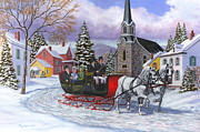 Drawn Painting Framed Prints - Victorian Sleigh Ride Framed Print by Richard De Wolfe